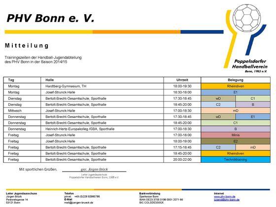 140908 - PHV Bonn - Trainingszeiten Jugend- Saison 1415